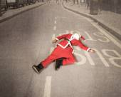 Santa Claus on the road — Stock Photo