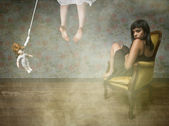 Girl in suicide situation — Stock Photo