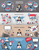 Flat design. Freelance jobs infographic with long shadows. — Stockvektor