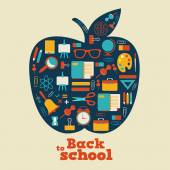 Back to school - background with apple and icons — Stock Vector