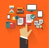 Platte ontwerp. bedrijfsconcept met hand. infographic schrijven — Stockvector