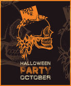 Halloween party poster with skull. — Wektor stockowy