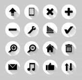 Set of black and white web icons with long shadows. — Stok Vektör