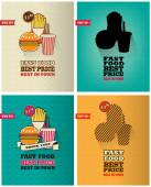 Set of fast food menu posters with long shadows. — Stock Vector