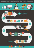 Logistics infographic elements. Transport logistics in the process. — Stock Vector