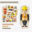 Flat design. Freelance infographic. Construction worker with tools and materials for the repair and construction. — Stock Vector #58107735