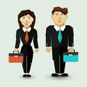 Businessman and Businesswoman in Suit. — Stock Vector