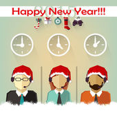 Christmas wishes of business people from different countries — Stock Vector