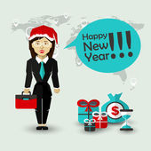 Happy New Year Wishes of Businesswoman — Stock Vector