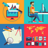 Concept of set elements freelance. — Stock Vector