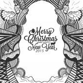 Christmas and happy new year doodle sketch with typography — ストックベクタ