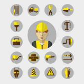 Flat design. Freelance infographic. Construction worker with tools and materials for the repair and construction. — Stock Vector
