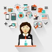 Flat design. Businesswoman — Stock Vector