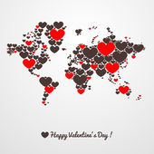 World map with hearts. Valentines day. — Stock vektor
