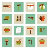 Set of  flat working tools icons. Repair their own hands. — Stock Vector