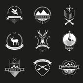 Set of  hunting, camping, fishing, armory and shooter's logo, em — Stock Vector