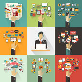 Set of business concept with hands. Freelance infographic. — Stock Vector