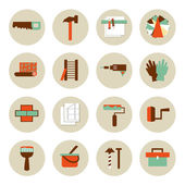 Set of flat working tools icons. Repair their own hands. — Vector de stock