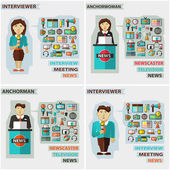 Set of professions. Anchorman, interviewer, anchorwoman. — Stock Vector