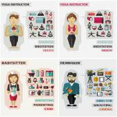 Set of professions. Yoga instructor, babysitter, filmmaker. — Wektor stockowy