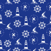 Set of sea and nautical seamless patterns — Stock Vector