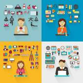 Set of professions. Yoga instructor, interviewer, photographer, — Stock Vector