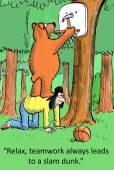 Bear gives teamwork advice — Stock Vector