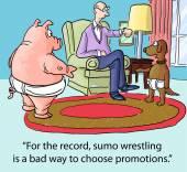 Sumo wrestling among teammates — Stock Vector