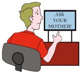 Teenage boy must ask his mother — Stock Vector