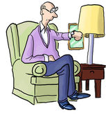 Man checking watch — Stock Vector