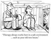 Therapist treats patient in tree — Stock Vector
