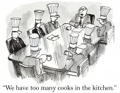 Too many cooks in the kitchen — Stock Vector