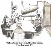 Fireworks at presentation — Stock Vector