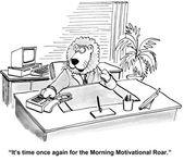 Lion executive gives motivational roar — Stock Vector