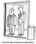 Days of obscene compensation — Stock Vector
