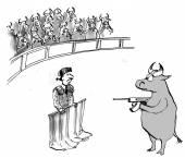 Angry bull in bullfight — Stock Vector