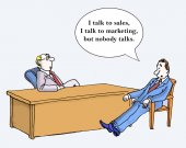 Nobody talks between marketing — Stock Vector