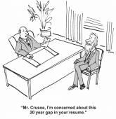 Crusoe has gap in resume — Stock Vector