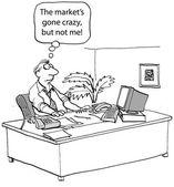 Market has gone crazy but not man — Stock Vector