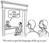 Worker needs better language skills — Stock Vector