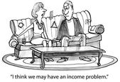 Woman executive has a budget problem — Stock Vector
