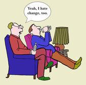 Men hate change — Stock Vector