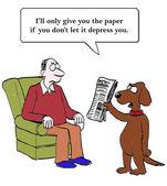 Dog delivers paper — Stock vektor