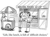 Lunch is a difficult choice — Stock Vector