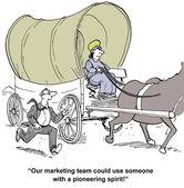Marketing team needs woman pioneering spirit — Stock Vector