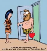 Cavemen with present on Valentine's Day — Cтоковый вектор