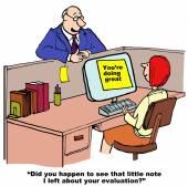 Cartoon of businessman praising businesswoman's work — Stock Vector