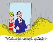 Cartoon of businessman rewarding businesswoman — Stock Vector