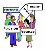 Cartoon on confidence characteristics and qualities — Stock Vector
