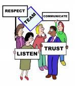 Cartoon of team characteristics and qualities — Stock Vector